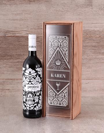 Personalised Protea Merlot Wine Crate