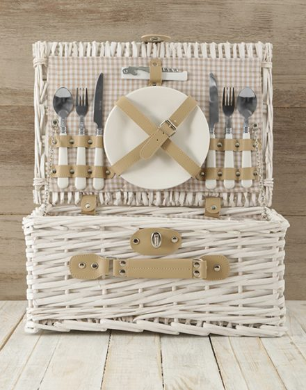 Two Person White & Gold Picnic Basket