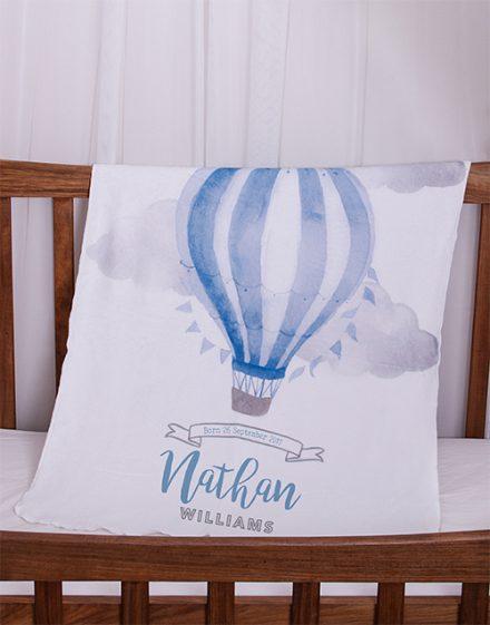 Personalised Blue Air Balloon Baby Fleece Blanket