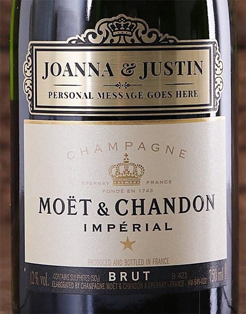Personalised Moet Brut champagne