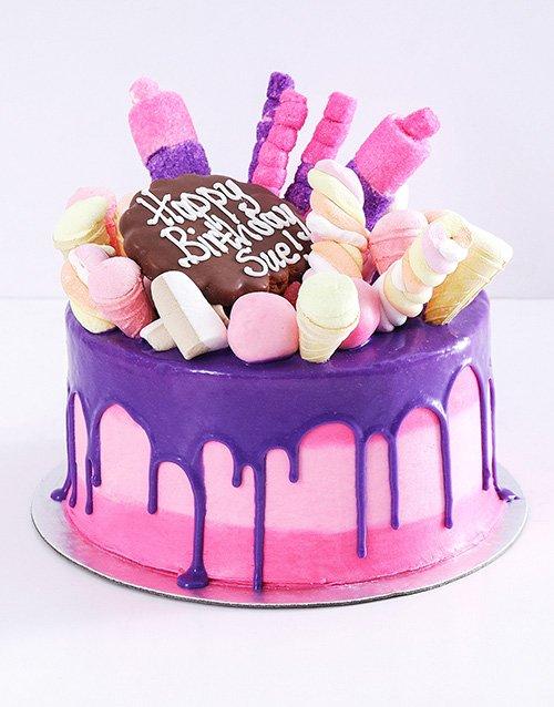 Personalised Pink Popping Drip Cake