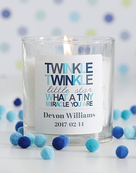Personalised Twinkle Twinkle Baby Boy Candle