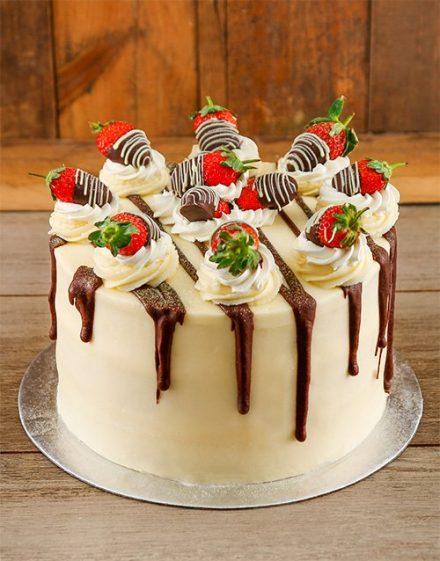 Personalised Strawberries and Cream Cake