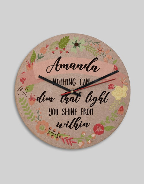 Personalised Shine From Within Clock