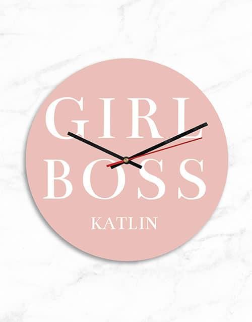 Personalised MDF Girl Boss Clock