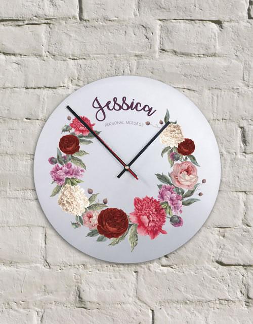 Personalised Metal Floral Clock