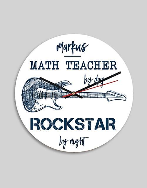 Personalised Rockstar By Night MDF Clock