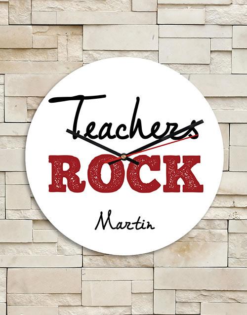 Personalised Teachers Rock MDF Clock
