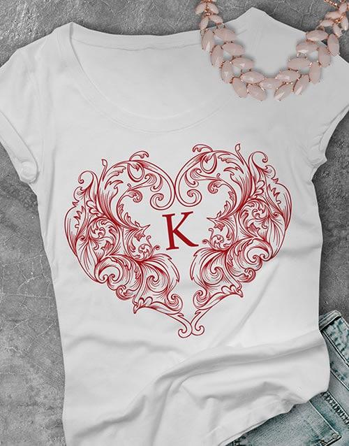 Personalised Valentines Heart Ladies T Shirt