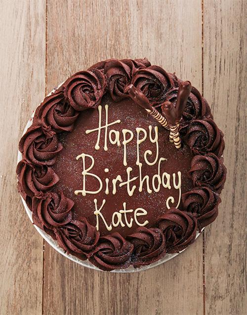 Personalised Chocolate Rose Cake