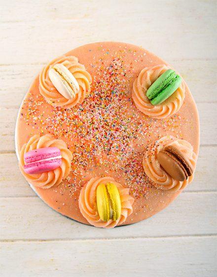 Personalised Pink Macaroon Cake