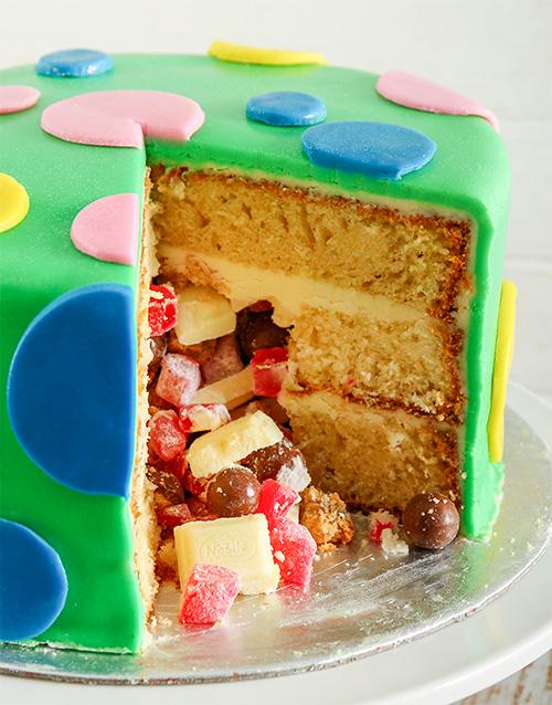 Personalised  Green Polka Dot Pinata Cake 20Cm