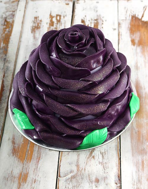 Personalised Purple Blueberry Rose Cake