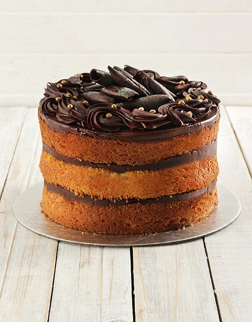 Personalised Chocolate And Vanilla Naked Cake 20Cm