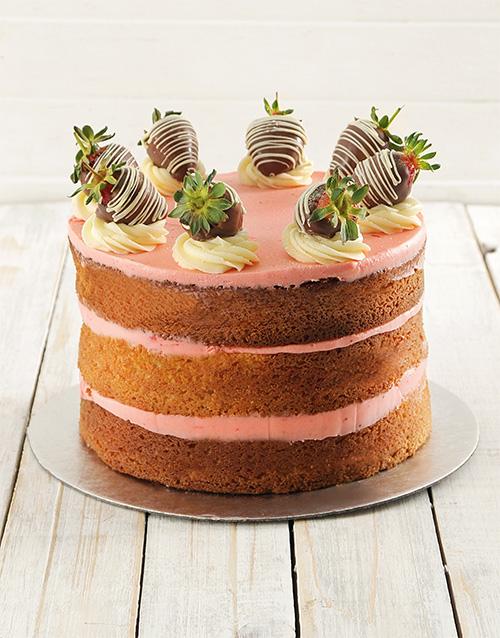 Personalised Strawberry And Vanilla Naked Cake