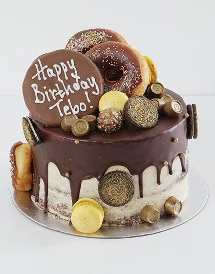 Personalised Doughnut and Gold Chocolate Drip Cake