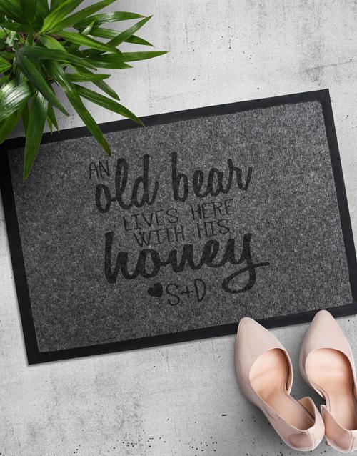 Personalised Old Bear And Honey Door Mat