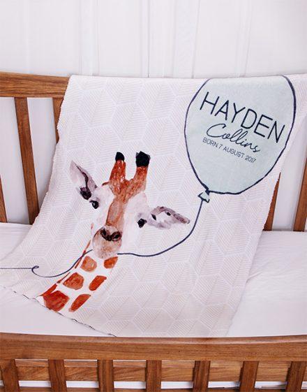 Personalised Animal Baby Fleece Blanket