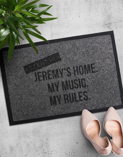 Personalised My Rules Door Mat