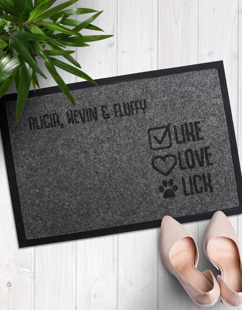 Personalised Like Love Lick Door Mat