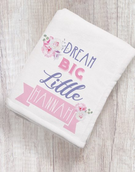 Personalised Dream Big Baby Fleece Blanket