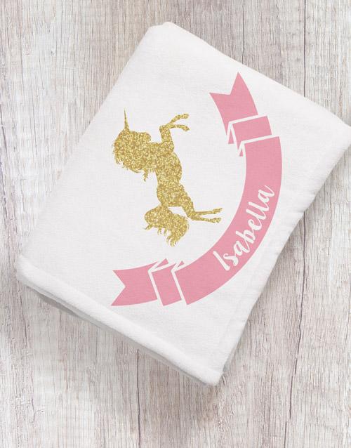 Personalised Unicorn Baby Fleece Blanket