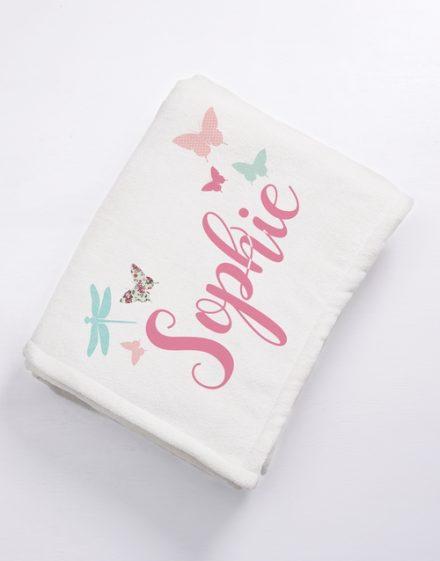 PERSONALISED FLEECE BLANKET GIRL NEWBORN BABY GIFT PINK PRINCESS BUTTERFLIES