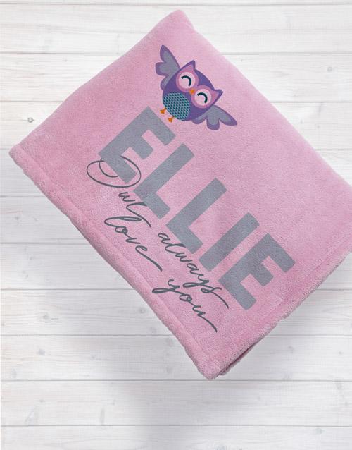 Personalised Owl Baby Fleece Blanket