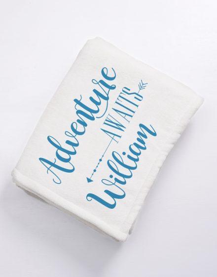 Personalised Adventure Awaits Baby Fleece Blanket