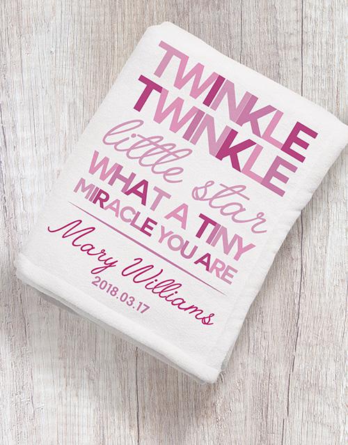 Personalised Twinkle Twinkle Girl Fleece Blanket
