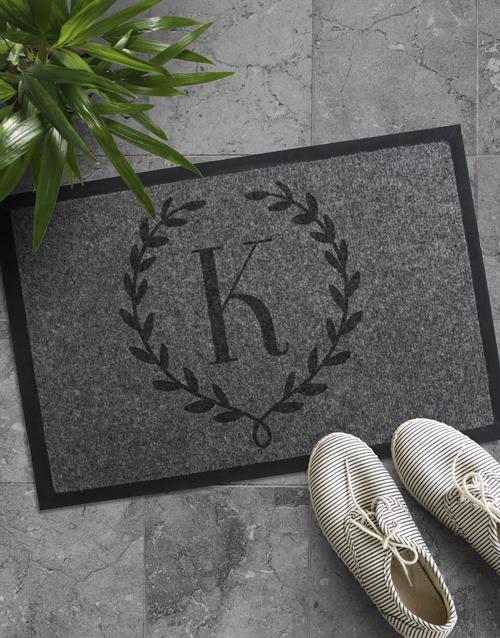 Personalised Floral Monogram Door Mat