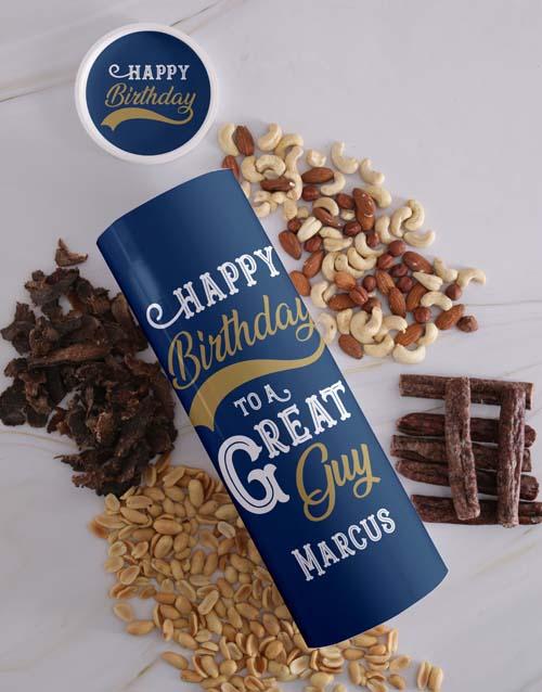 Personalised Birthday Biltong And Nut Tube