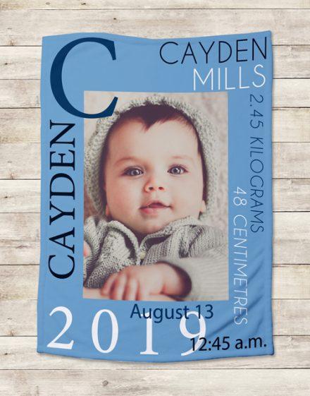 Personalised Baby Boy Birth Blanket