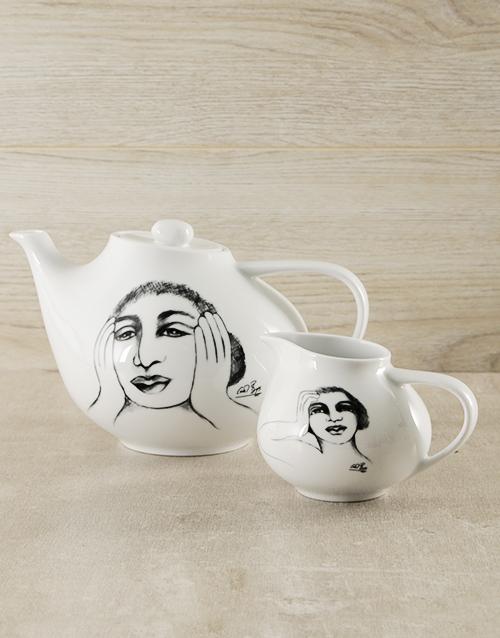 Carrol Boyes Ceramic Tea Pot & Milk Jug