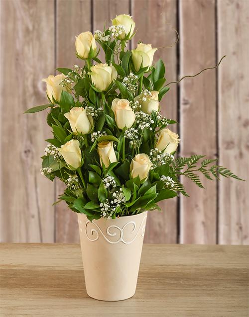 Mother's Day Arrangement of Cream Roses