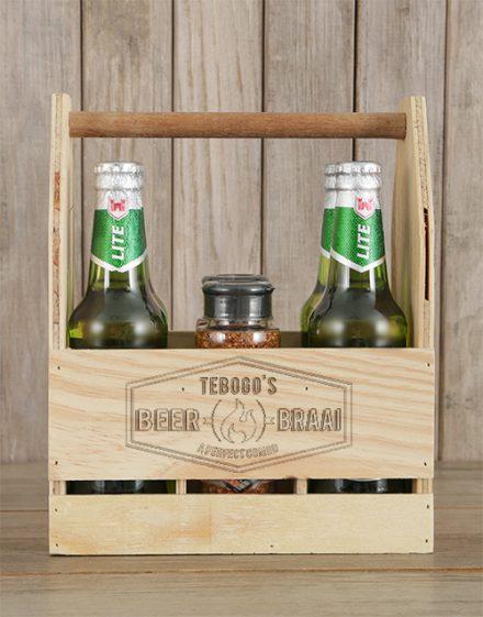 Braai and Castle Beer Caddy Personalised Gift
