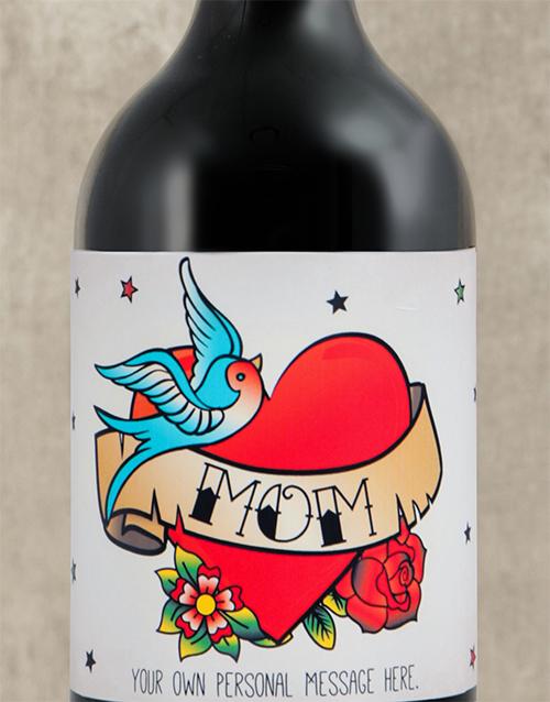 Mom Tattoo Personalised Wine