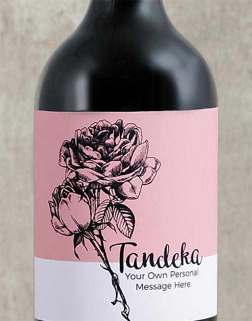 Rose Sketch Personalised Wine
