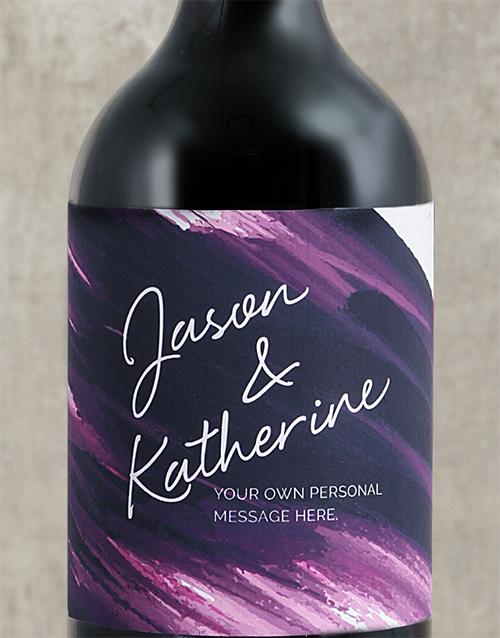 Purple Brushstroke Couples Personalised Wine