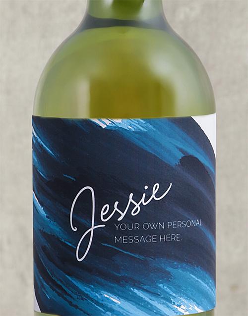 Blue Brushstroke Personalised Wine