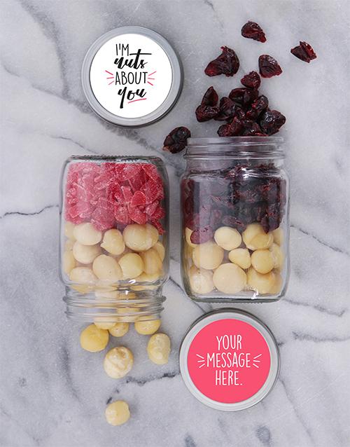 Personalised Nuts About You Fruit n Nut Jar Set