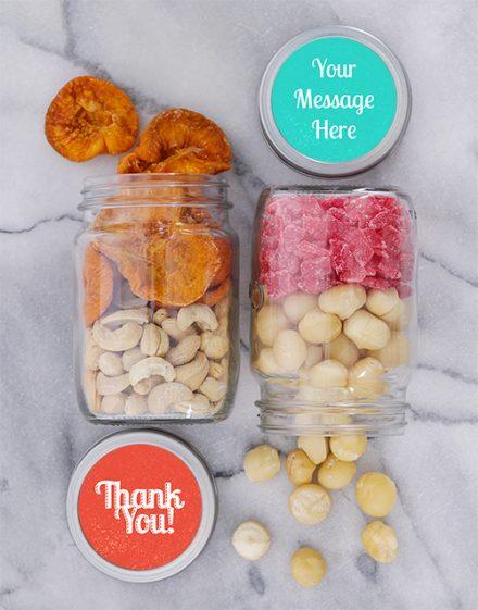 Personalised Thank You Fruit n Nut Jar Set