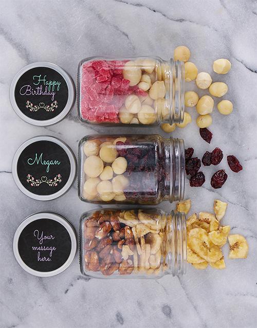 Personalised Floral Birthday Fruit n Nut Jar Trio