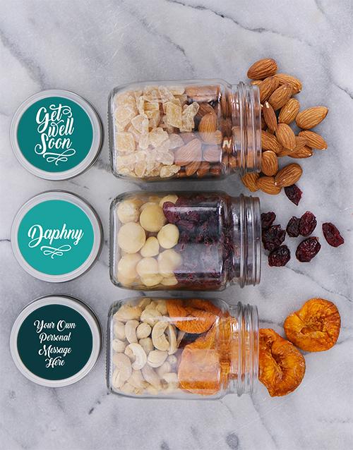 Personalised Get Well Fruit n Nut Jar Trio