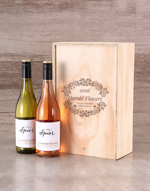 Floral Personalised Wine Crate