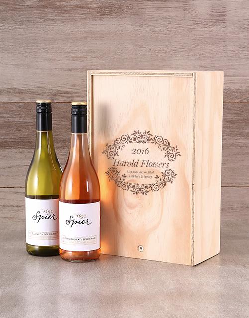 Floral Personalised Wine Crate