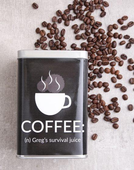 Survival Juice Personalised Coffee Gift Tin