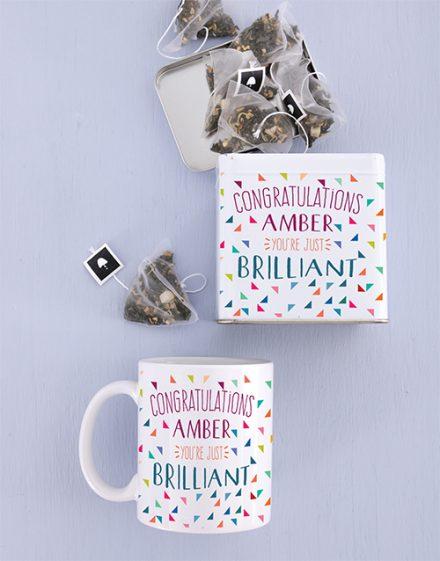 Congrats Mug and Personalised Tea Gift Tin