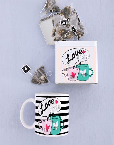 Love at First Sip Mug and Personalised Tea Gift Tin