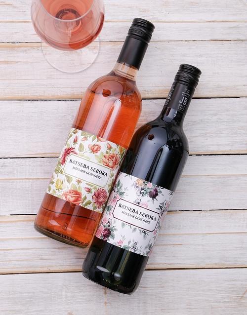 Vintage Flower Personalised Wine